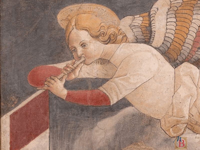 Un angelo che suona la tromba dipinto da Eleazario Oldoni