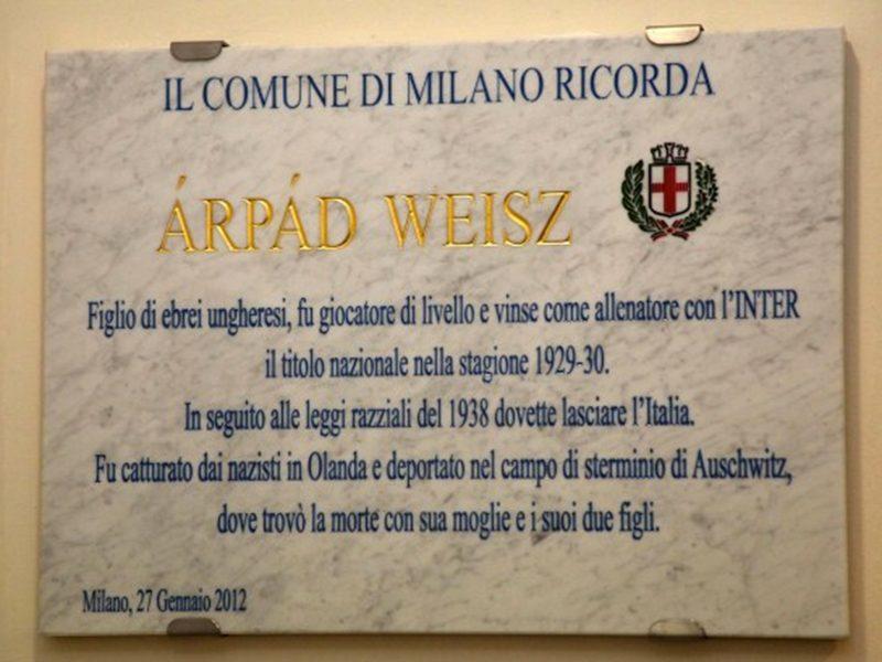 Targa commemorativa per Weisz Árpád, raccontato da Giovanni Cerutti