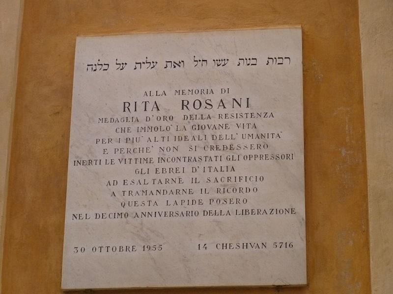 Targa Rita Rosani Sinagoga Comunità Ebraica Verona