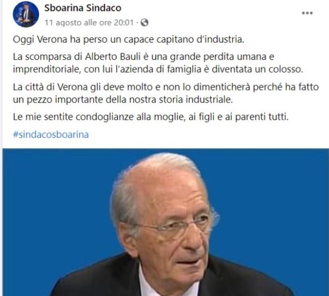 Post Sboarina su morte di Alberto Bauli