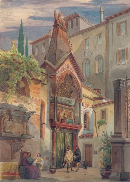 Arche Scaligere - dipinto dell'ottocento che rappresenta la tomba di Cangrande