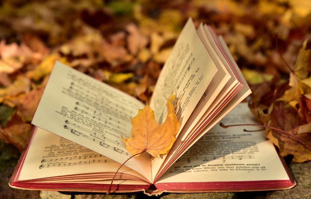 Un libro di spartiti aperto tra foglie autunnali.