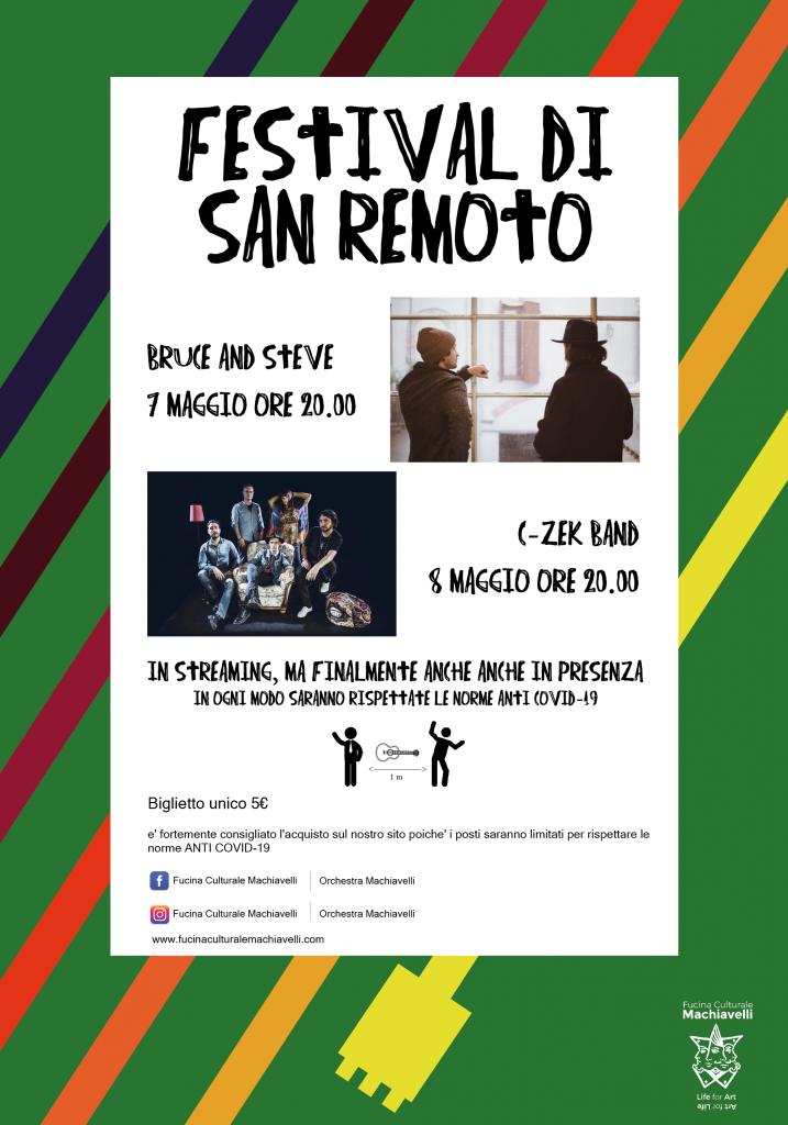 Locandina del  festival di San Remoto organizzato da Fucina Culturale Macchiavelli in occasione della riapertura del teatro