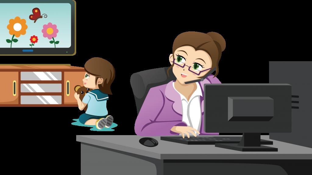 Maxi schermo - Madre impegnata per Telelavoro